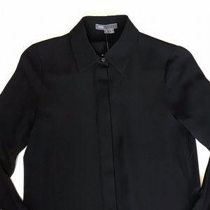 Vince Size 0 NWT Black Silk Button Down